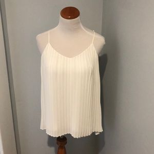 Express Pleated Ivory Cami Tank Top